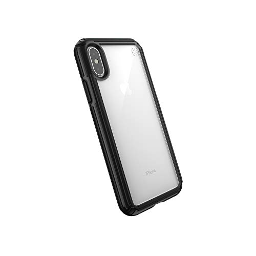 Speck Products Compatible Phone Case for Apple iPhone Xs/iPhone X, Presidio V-Grip Case, Clear/Black