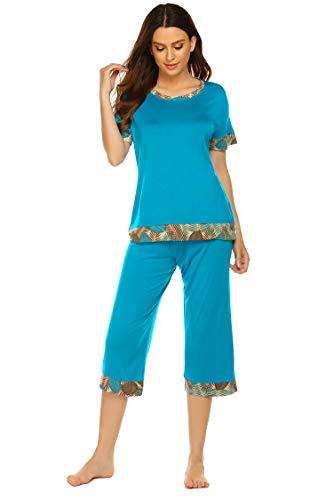 Hotouch Pajamas for Women Stylish Print Ladies Pajama Set Oversized Shirt Capri Lounge Pants Navy Blue XXL