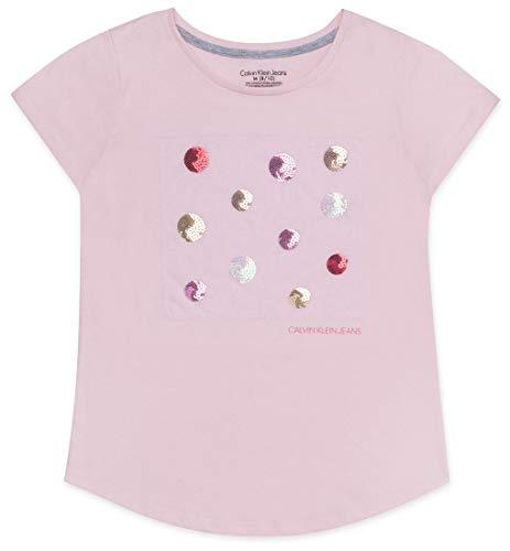 (Calvin Klein Big Girls Graphic Tee, Strawberry Cream, S7)