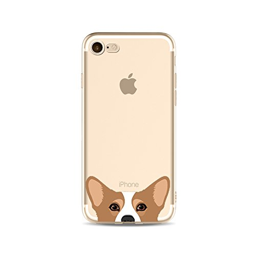 iPhone 7, Cat Dog Cute Series Colorful Rubber Flexible Silicone Case Bumper for Apple Clear Cover - Pembroke Welsh Corgi
