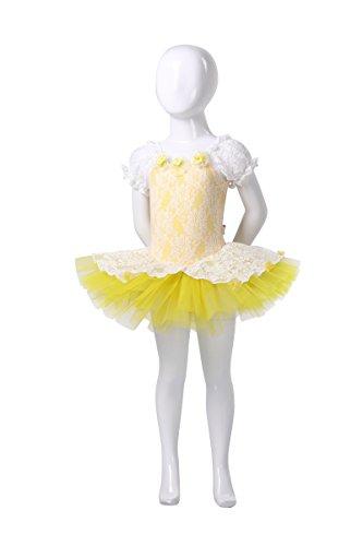 AvaCostume Girls Lace Puff Sleeve Costumes Tutu Dress, Yellow, 4T-5