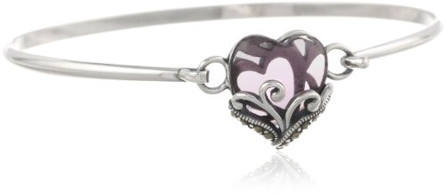 Sterling Silver Oxidized Genuine Marcasite and Gemstone Colored Glass Filigree Heart Bangle Bracelet, 7.25