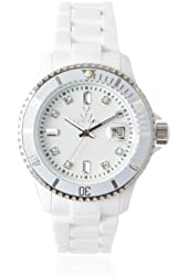ToyWatch Women's PCLS02WH White Rhinestone-Accented Watch