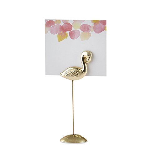 Kate Aspen 11309GD Antique Gold Flamingo Pink Watercolor (Set of 6) Place Card Holders, One Size, ()