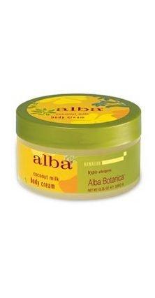 ALBA Botanica Body Cream,Coconut Milk, 6.5 FZ