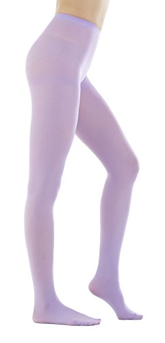 - STYLEGAGA Women's 80 Denier Semi Opaque Solid Color Footed Pantyhose Tights 2Pair (M/L, Lavender)