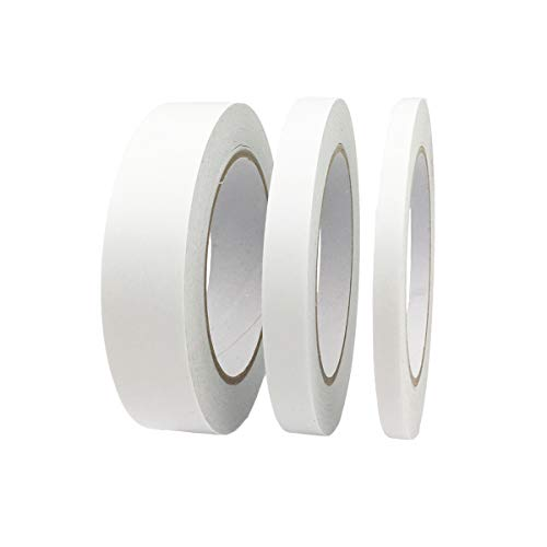 Beeway 3 Rolls Double Sided Tape Adhesive Sticky Tapes for Gifts, Photos,Documents, Wallpaper, Scrapbooking, Crafts, Ribbon, Cards and Boxes,Each Roll 30 Yards(1/4 inch, 1/2 inch, 1 inch Wide)
