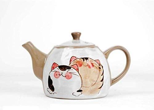 Yadianna 色釉裏塗装ティーセットかわいい漫画の猫カンフーティーセットラフ陶器
