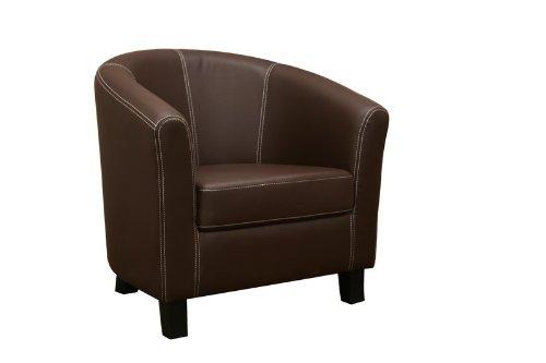 Baxton Studio Elijah Dark Brown Faux Leather Modern Club Chair (Finish Chair Lounge Barrel)