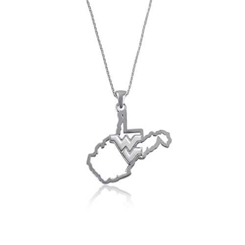 West Virginia Jewelry - Mountaineers WV Sterling Silver Jewelry by Dayna Designs (State Outline Necklace) - Necklace Sterling Silver Logo
