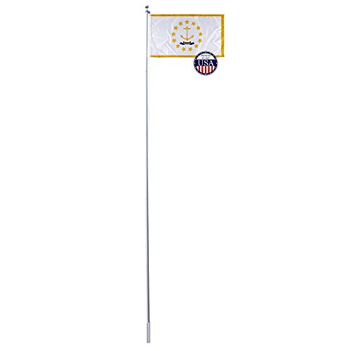 20' Island Decor (Vispronet - Rhode Island State Flag and 20ft Flagpole with PVC Ground Insert Included - 3ft x 5ft Knitted Polyester Flag, State Flag Collection, Flag Printed in the USA)