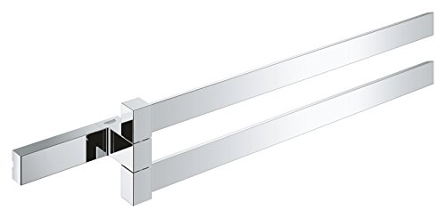 Grohe 40768000 Selection Cube Double Towel Bar, Polished Chrome
