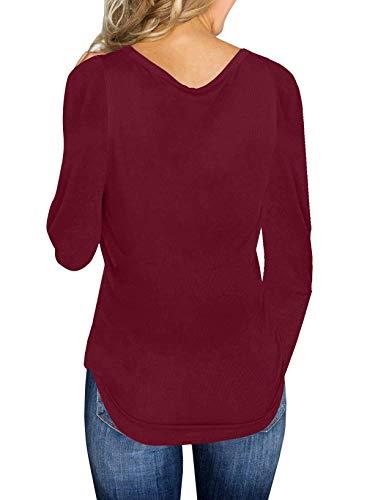 Maglieria Simple Donne Jumper T Tinta Casual e Primavera Moda shirts Sweater Autunno Pullover Sottile V Fashion Unita Maglioni Quotidiani Scollo Lunga Tops Manica q6qfrA