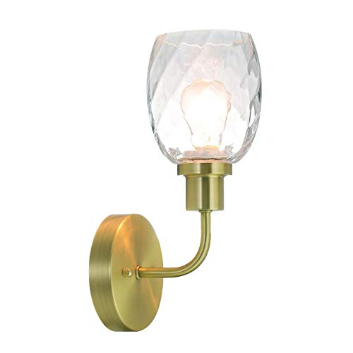Wall Light 1 Light Wall Sconce with Clear Glass in Satin Brass, Modern Bathroom Vanity Lighting Suitable for Bathroom & Kitchen XiNBEi-Lighting XB-W1210-1-SB