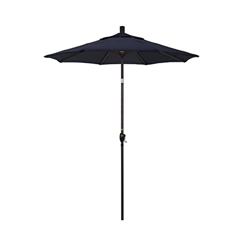 California Umbrella 6′ Round Aluminum Market Umbrella, Crank Lift, Push Button Tilt, Bronze Pole, Sunbrella Navy For Sale