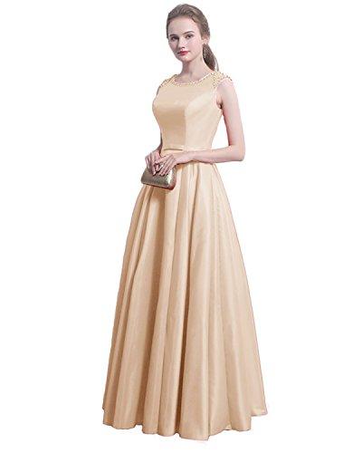 linie LuckyShe A Satin Abendkleider ballkleid Festkleider ED1715 Lang Damen Champagne ZqIxqOHR