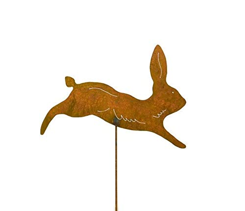 Running Rabbit Rusty Metal Garden Stake
