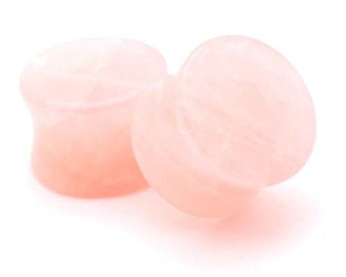 Rose Quartz Stone Plugs - Rose Quartz Stone Plugs - 5/8 Inch - 16mm - Sold As a Pair