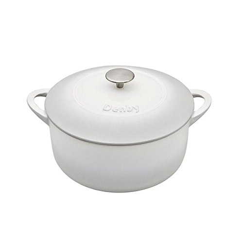 Denby Natural Canvas Cast Iron 5.2L Round Casserole, Medium, White