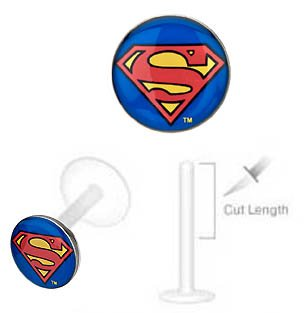 DC+Comics Products : Superman Super man Official Licensed DC Comics Flex Flexible Bioplastic Labret Monroe lip tragus piercing bar Ring 14g