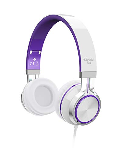 Elecder i39 Headphones with Microphone Foldable Lightweight Adjustable On Ear Headsets with 3.5mm Jack for iPad Cellphones Computer MP3/4 Kindle Airplane School Purple/White -