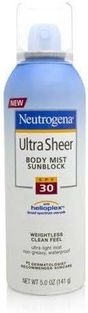 Neutrogena Ultra Sheer Body Mist Sunscreen Broad Spectrum SPF 30, 5 Ounce