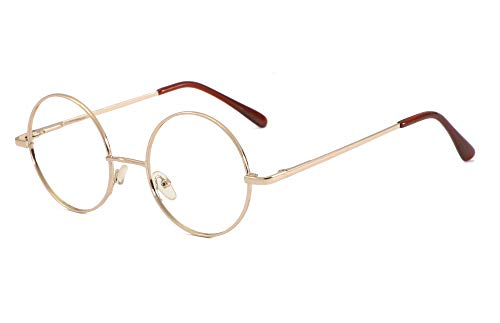 SOOLALA Cool Retro Round Metal Frame Spring Hinged Reading Glasses for men and Women, Gold, 1.25D