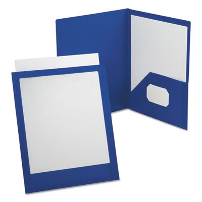 Oxford ViewFolio Twin Pocket Folder, Letter Size, Blue (57441)-25 Pack