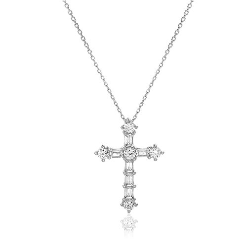 me & you Cubic Zirconia Round & Baguette Cross Pendant in Sterling (Baguette Cubic Zirconia Necklace)