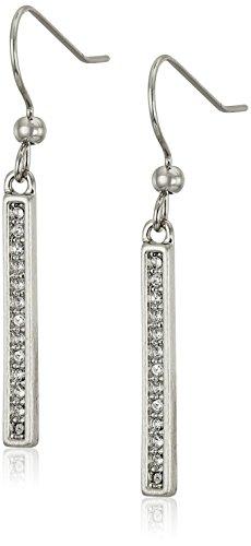 Karen Kane Linden Paks Pave Bar Silver Tone Drop Earrings -