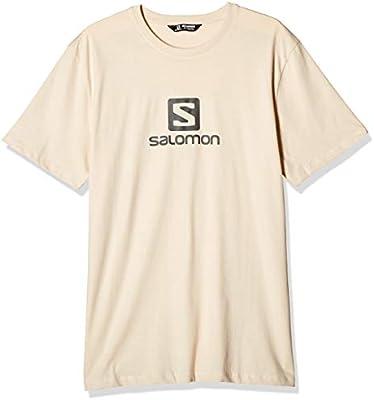 Salomon Coton Logo SS tee M Camiseta de Manga Corta, Hombre, Beige/Gris (Rainy Day/Ebony), S: Amazon.es: Deportes y aire libre