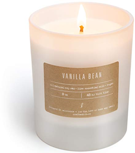 Craft & Kin Vanilla Candle Scented Candles | Soy Candle Strong Scented Candles | Aromatherapy Candles Long Lasting Candles White Frosted Glass Jar Candle (Vanilla Bean) (Best Vanilla Scented Candles)