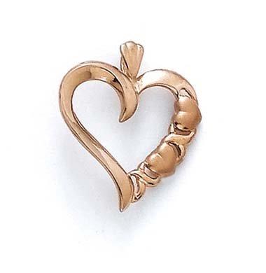 Rose 14 carats Coeur calin pendentif en forme de cœur-JewelryWeb
