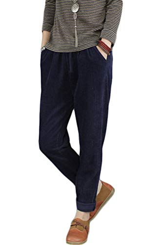 Minibee Women's Casual Corduroy Pants Comfy Pull on Elastic Waist Trousers Drawstring Cotton Pants Navy Blue S
