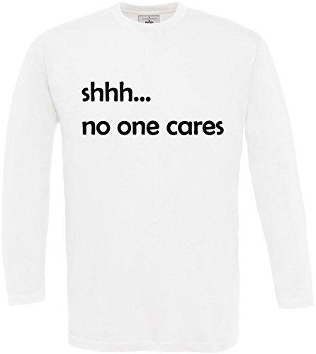 Ne shirt À Texte S 3xl White De Shhh Longues Personne Concepteur Disant Soucie L'impression Se Cool Manches Homme T 2store24 5qAt488