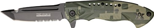 (Tac Force Knives 685DAR Army - Part Serrated Linerlock A/O Knife with Grooved OD Green Digital Camo Aluminum Handles)