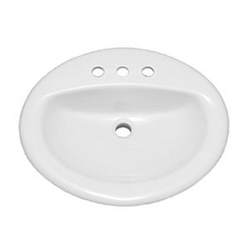 ProFlo PF20174WH 20-1/2'' Self Rimming (Drop-In) Oval Bathroom Sink - 3 Holes Drilled by ProFlo