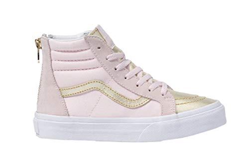(Vans Girls SK8 HI Zip Skate Shoes (10.5 M US Little Kid, (Metallic Toe) Heavenly Pink))