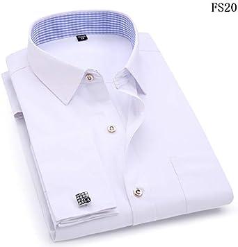 Camisas De Vestido De Hombre Francés Azul Blanco Mangas Largas Business Casual Camisa Delgada Ajuste Sólido Color Francés Cufflinks Camisa Etiqueta Asiática 3XL 43 FS20: Amazon.es: Ropa y accesorios