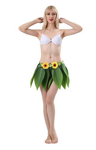 MAIHEIMOON Hawaiian Hula Green Leaf Skirt with Artificial
