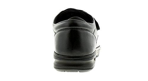 Uomo Chiusura a Strappo Comfort Larga Misura Scarpe - Nero - Numeri UK 6-12 - Nero, 40
