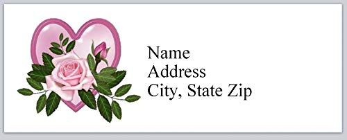 150 Personalized Return Address Labels Primitive Country Heart Pink Rose (bx 871)