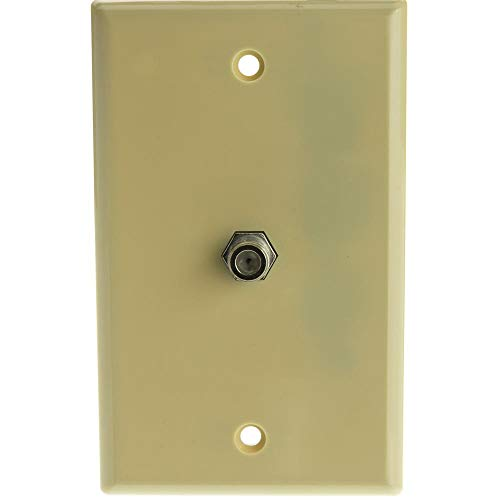 (GOWOS TV Wall Plate with 1 F-pin Coupler, Ivory)