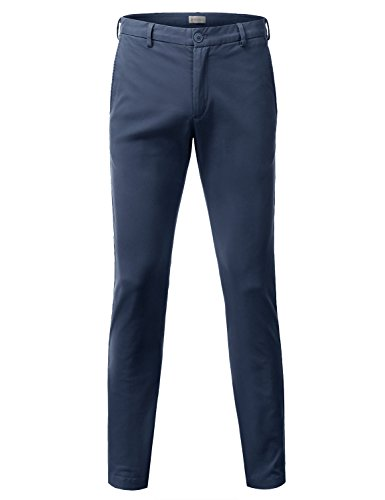 Doublju Mens Slim Fit Cotton Twill Flat Front Chino Pants BLUE