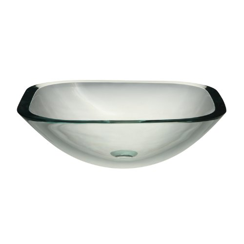 DECOLAV 1139T-TCR Kesia Translucence Square 19mm Glass Vessel Sink, Transparent Crystal