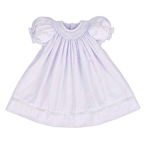 Petit Ami Baby Girls' Smocked Daygown with Voile Insert, 6 Months, Lavender