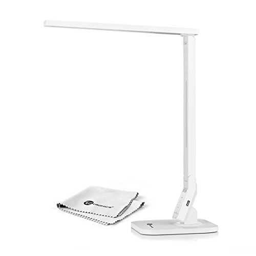 TaoTronics Dimmable LED Desk Lamp 5-Level Dimmer, Touch-Sensitive Control Panel, 1-Hour Auto Timer, 5V/1A USB Charging Port – White