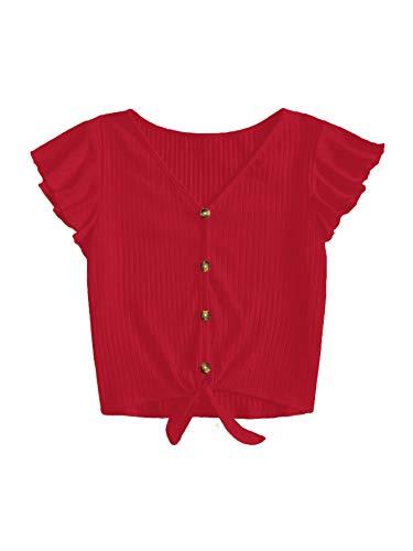 Verdusa Women's Button Front Knot Hem Ruffle Sleeve Ribbed Crop Top T-Shirt Red M