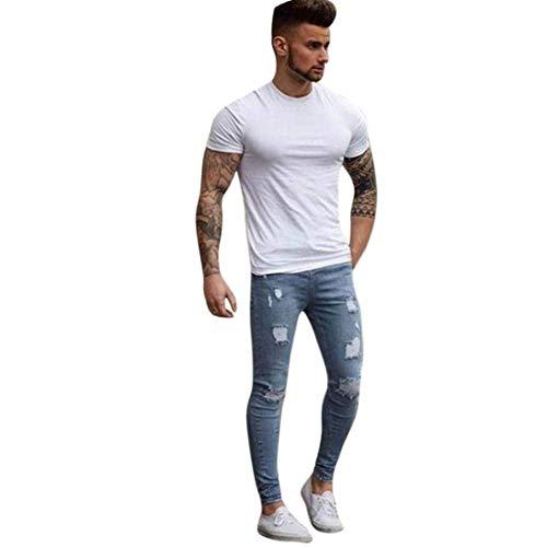 ADELINA Jeans Pesado De Los Hombres De Hombres Los Elásticos De Ropa Los Pantalones Vaqueros Rasgados Flacos Motorista Pantalones Lavados Pantalón De Mezclilla Lápiz Jeggings Hellblau