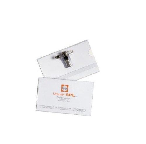 Viva 140, Badge in PVC trasparente con gancio e clip in metallo, con cartoncino bianco, 92 x 58 Mm, Confezione da 50 pezzi